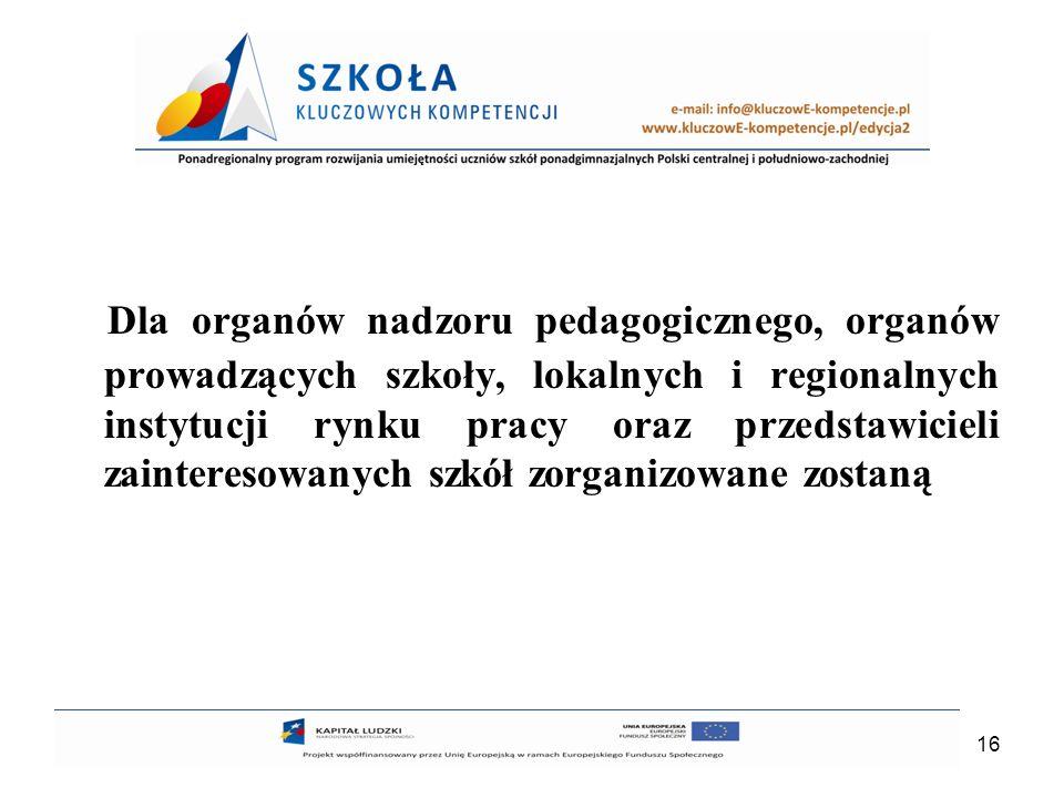 16 Dla organów nadzoru pedagogicznego, organów prowadzących szkoły, lokalnych i regionalnych instytucji rynku pracy oraz przedstawicieli zainteresowan