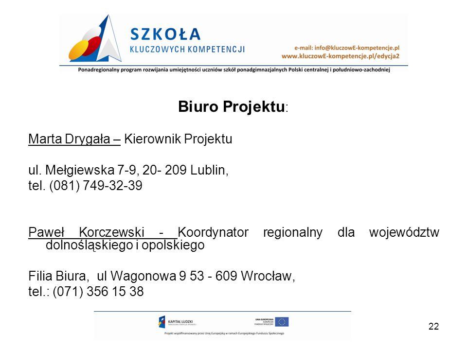 22 Biuro Projektu : Marta Drygała – Kierownik Projektu ul. Mełgiewska 7-9, 20- 209 Lublin, tel. (081) 749-32-39 Paweł Korczewski - Koordynator regiona