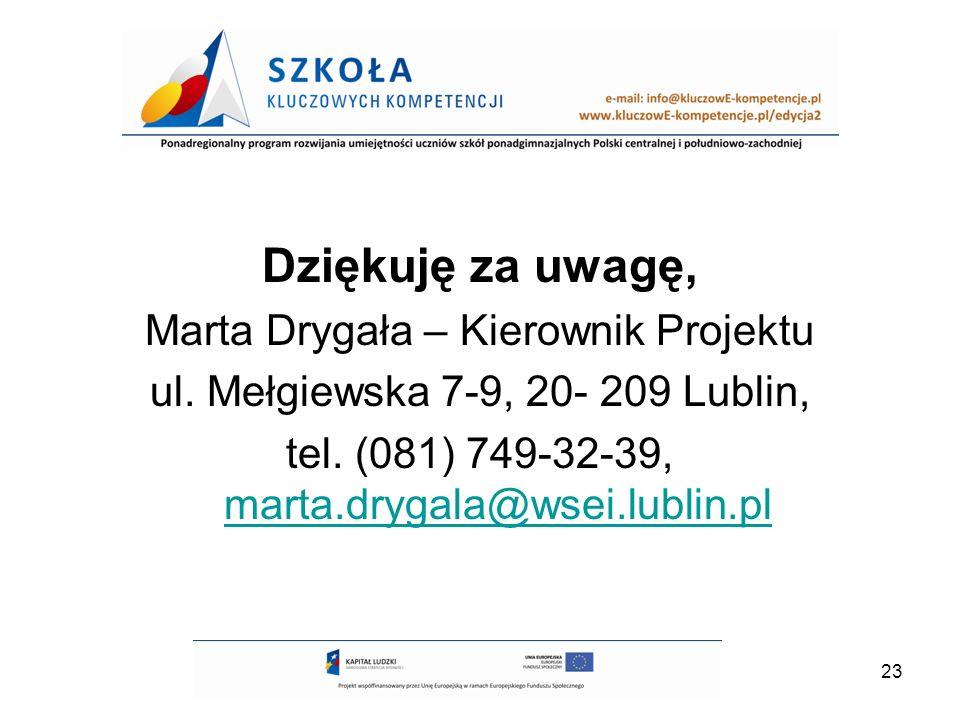 23 Dziękuję za uwagę, Marta Drygała – Kierownik Projektu ul. Mełgiewska 7-9, 20- 209 Lublin, tel. (081) 749-32-39, marta.drygala@wsei.lublin.pl marta.