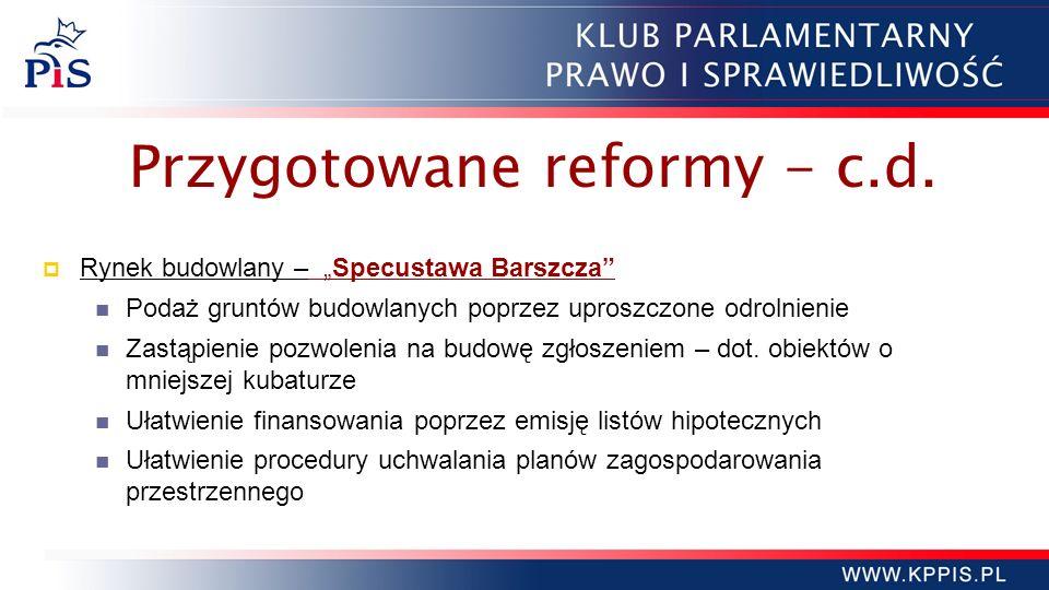 Przygotowane reformy - c.d. Rynek budowlany – Specustawa Barszcza Podaż gruntów budowlanych poprzez uproszczone odrolnienie Zastąpienie pozwolenia na