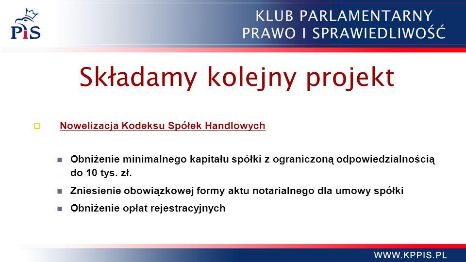 Składamy kolejny projekt Nowelizacja Kodeksu Spółek Handlowych Obniżenie minimalnego kapitału spółki z ograniczoną odpowiedzialnością do 10 tys. zł. Z