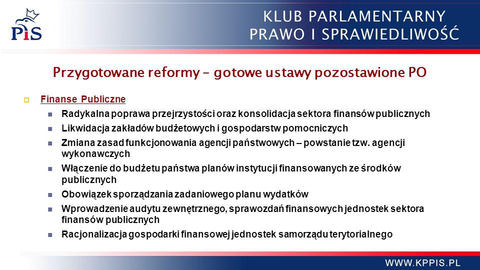 Przygotowane reformy – gotowe ustawy pozostawione PO Finanse Publiczne Radykalna poprawa przejrzystości oraz konsolidacja sektora finansów publicznych