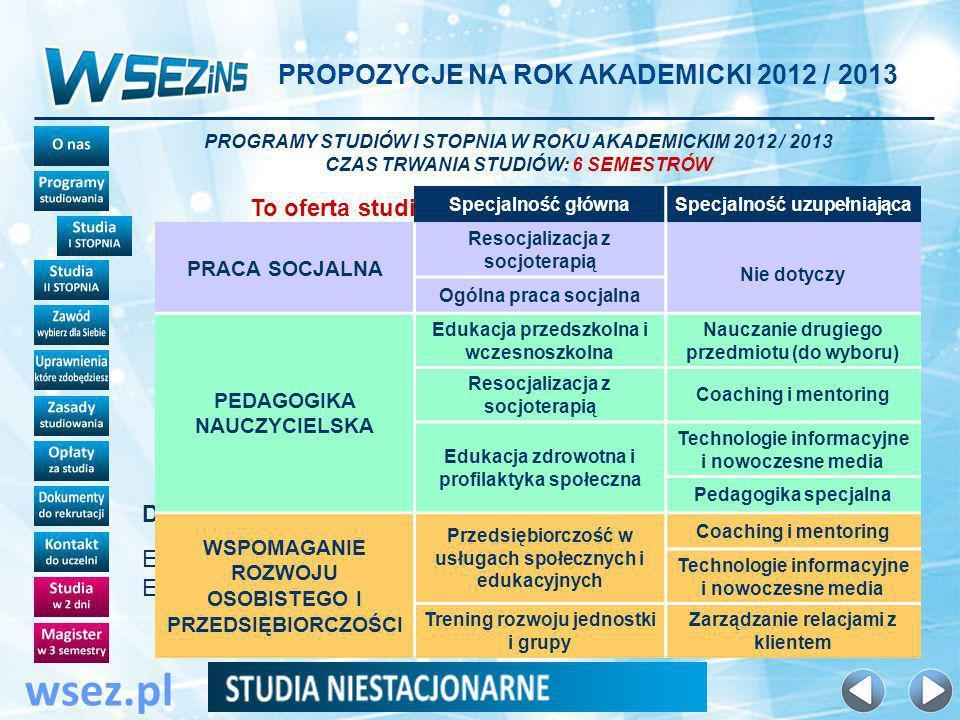 PROPOZYCJE NA ROK AKADEMICKI 2012 / 2013 wsez.pl PROGRAMY STUDIÓW I STOPNIA W ROKU AKADEMICKIM 2012 / 2013 CZAS TRWANIA STUDIÓW: 6 SEMESTRÓW To oferta studiów dla mieszkańców Łodzi i okolic .
