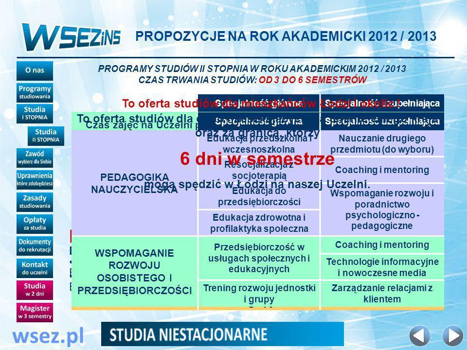 PROPOZYCJE NA ROK AKADEMICKI 2012 / 2013 wsez.pl Specjalność głównaSpecjalność uzupełniająca PEDAGOGIKA NAUCZYCIELSKA Edukacja przedszkolna i wczesnoszkolna Nauczanie drugiego przedmiotu (do wyboru) Resocjalizacja z socjoterapią Coaching i mentoring Edukacja do przedsiębiorczości Pedagogika specjalna Edukacja zdrowotna i profilaktyka społeczna Wspomaganie rozwoju i poradnictwo psychologiczno - pedagogiczne WSPOMAGANIE ROZWOJU OSOBISTEGO I PRZEDSIĘBIORCZOŚCI Przedsiębiorczość w usługach społecznych i edukacyjnych Coaching i mentoring Technologie informacyjne i nowoczesne media Trening rozwoju jednostki i grupy Zarządzanie relacjami z klientem PROGRAMY STUDIÓW II STOPNIA W ROKU AKADEMICKIM 2012 / 2013 CZAS TRWANIA STUDIÓW: OD 3 DO 6 SEMESTRÓW To oferta studiów dla mieszkańców Łodzi i okolic .