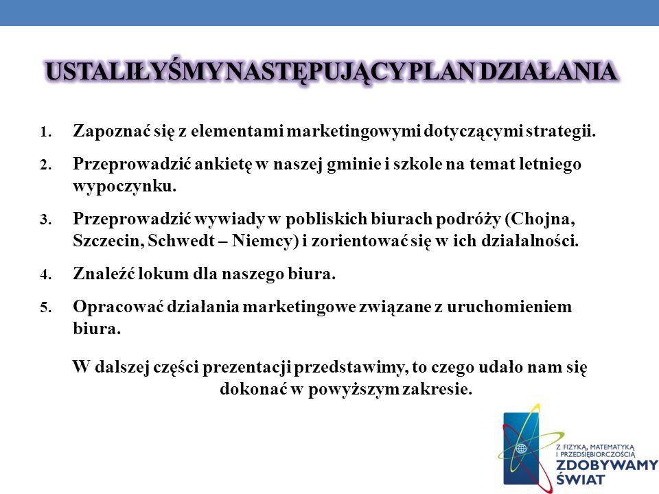1. Zapoznać się z elementami marketingowymi dotyczącymi strategii. 2. Przeprowadzić ankietę w naszej gminie i szkole na temat letniego wypoczynku. 3.