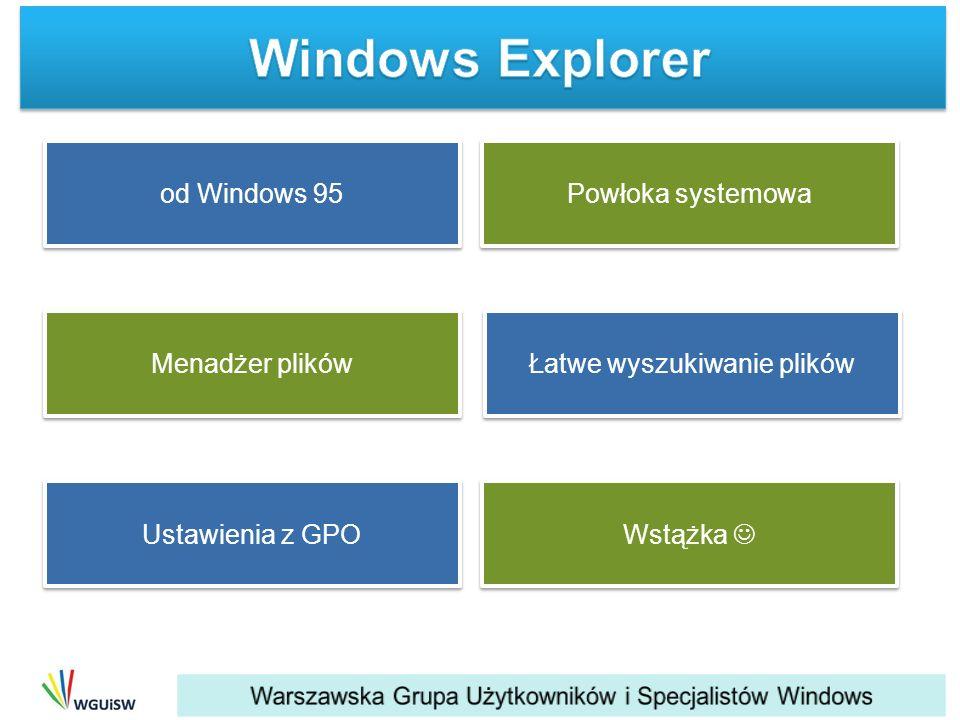 od Windows 95 Łatwe wyszukiwanie plików Ustawienia z GPO Wstążka Powłoka systemowa Menadżer plików