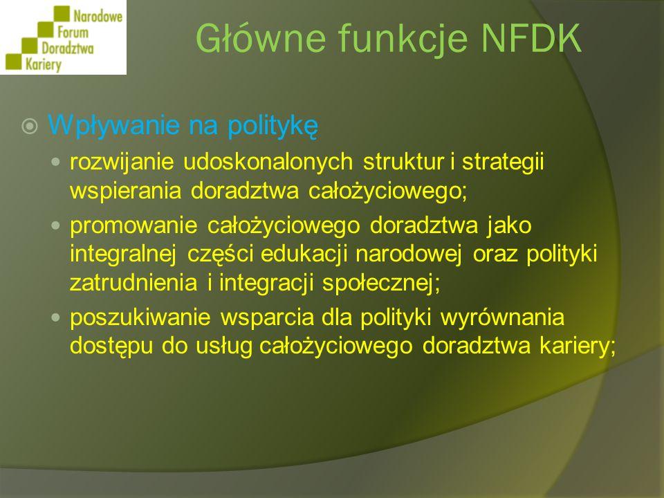 Główne funkcje NFDK Korzystanie ze współpracy międzynarodowej Udział Narodowego Forum w europejskiej sieci European Lifelong Guidance Policy Network; wspieranie narodowego udziału w sympozjach polityki międzynarodowej; wdrażanie i rozpropagowywanie innowacyjnych oraz najlepszych praktyk powstałych z inicjatyw europejskich i międzynarodowych.