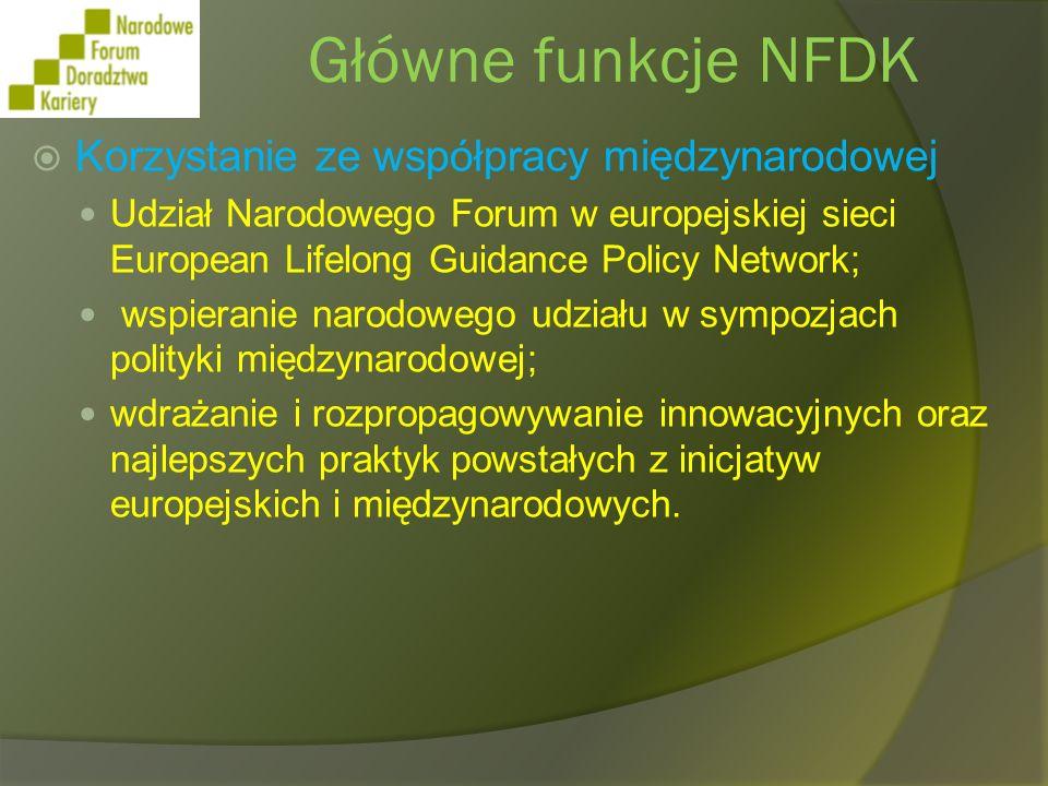 Główne funkcje NFDK Korzystanie ze współpracy międzynarodowej Udział Narodowego Forum w europejskiej sieci European Lifelong Guidance Policy Network;