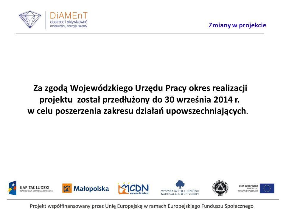 Za zgodą Wojewódzkiego Urzędu Pracy okres realizacji projektu został przedłużony do 30 września 2014 r. w celu poszerzenia zakresu działań upowszechni