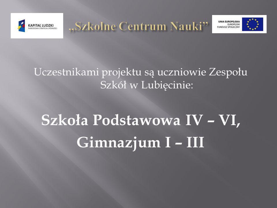 Uczestnikami projektu są uczniowie Zespołu Szkół w Lubięcinie: Szkoła Podstawowa IV – VI, Gimnazjum I – III