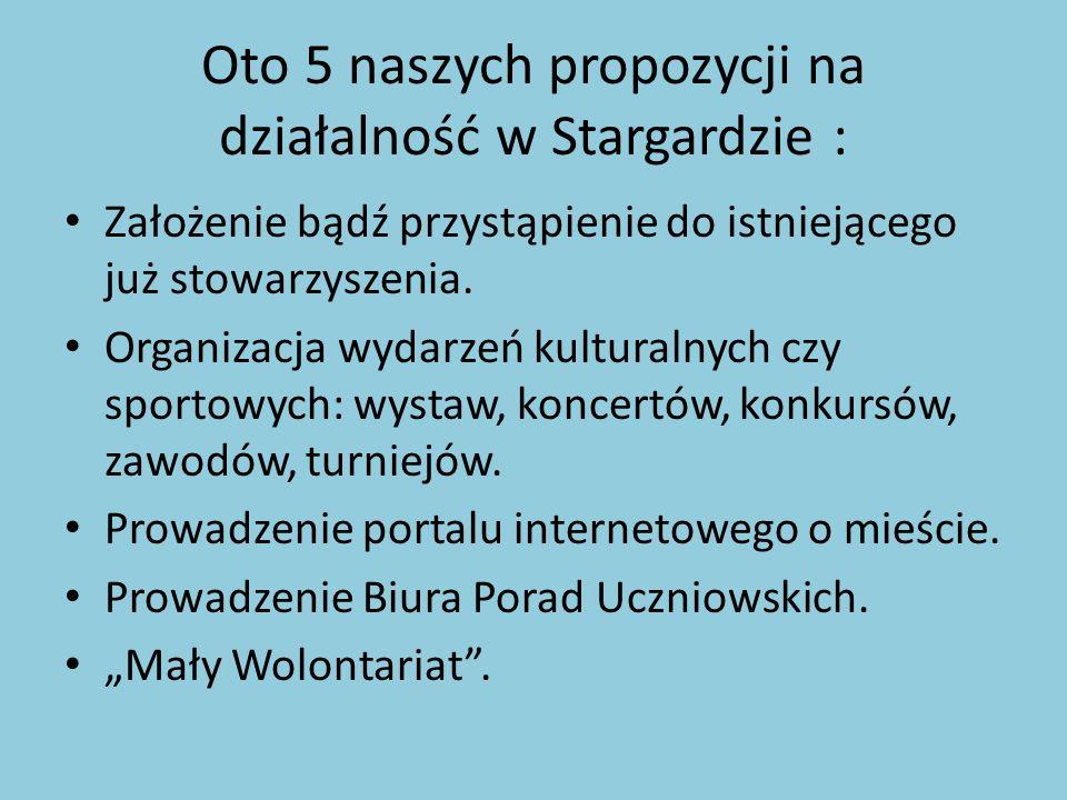 Oto 5 naszych propozycji na działalność w Stargardzie : Założenie bądź przystąpienie do istniejącego już stowarzyszenia. Organizacja wydarzeń kultural