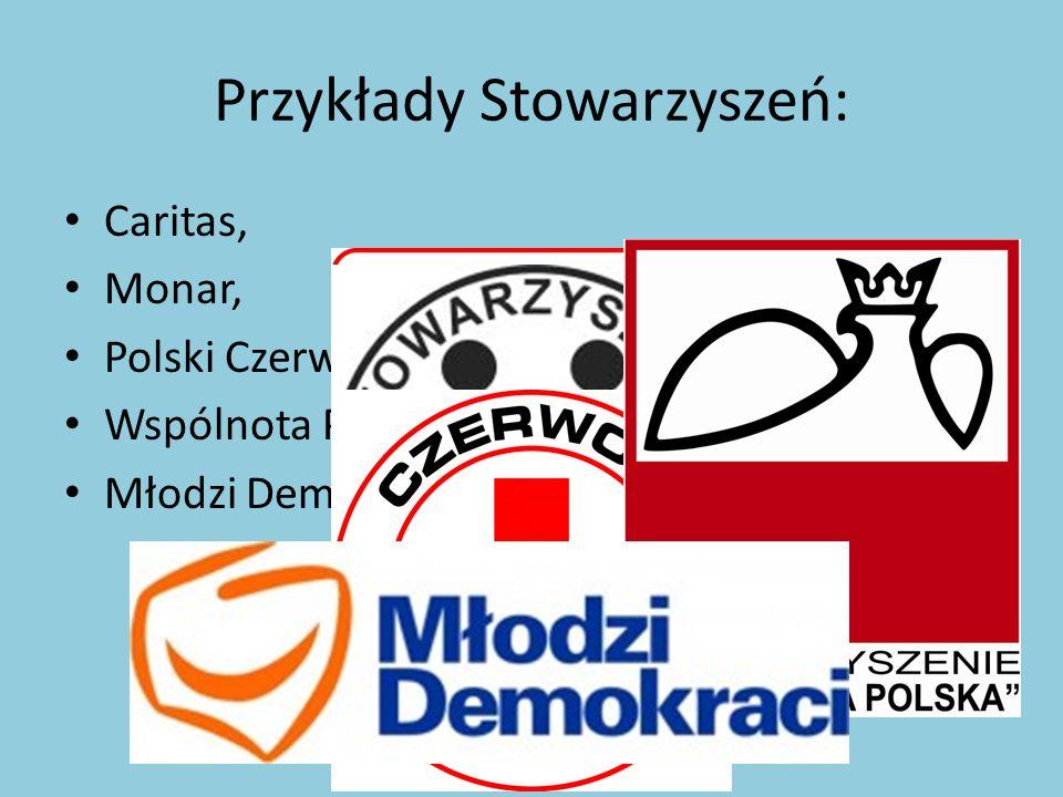 Przykłady Stowarzyszeń: Caritas, Monar, Polski Czerwony Krzyż, Wspólnota Polska, Młodzi Demokraci