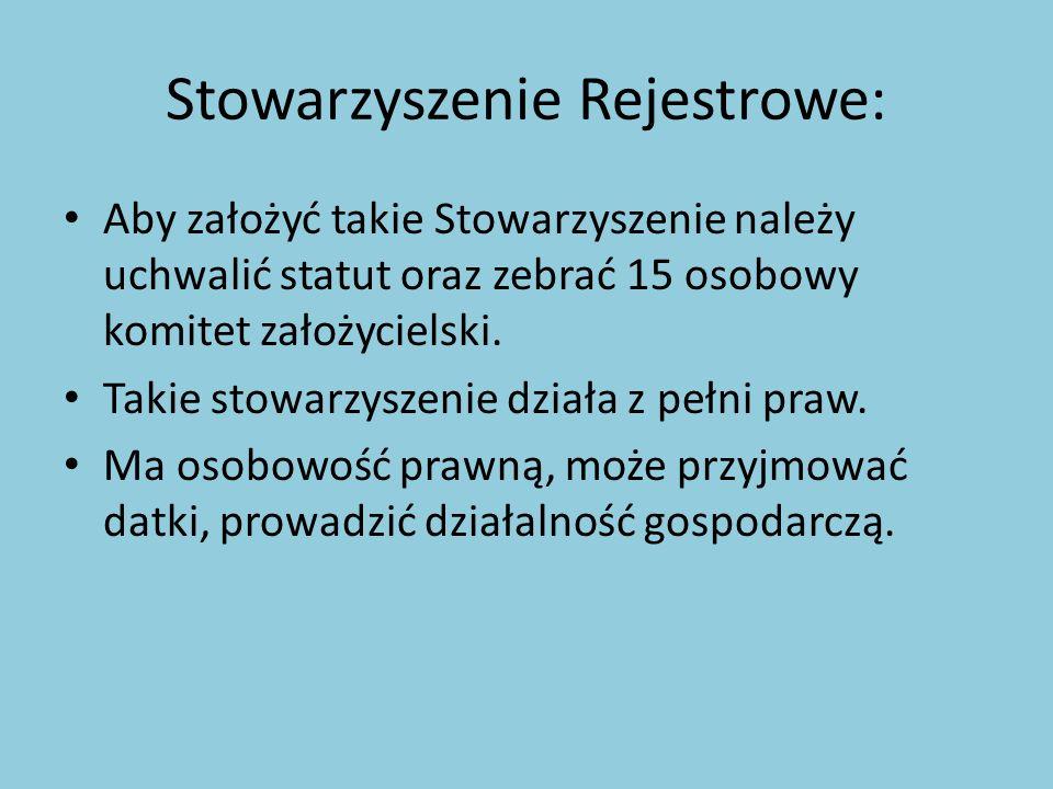 Stowarzyszenie Rejestrowe: Aby założyć takie Stowarzyszenie należy uchwalić statut oraz zebrać 15 osobowy komitet założycielski. Takie stowarzyszenie