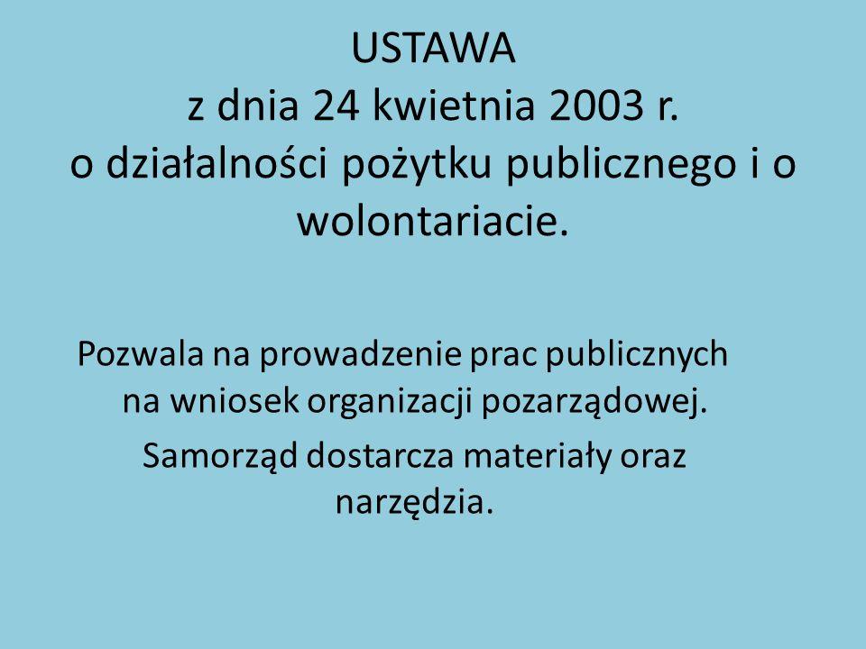 USTAWA z dnia 24 kwietnia 2003 r. o działalności pożytku publicznego i o wolontariacie. Pozwala na prowadzenie prac publicznych na wniosek organizacji