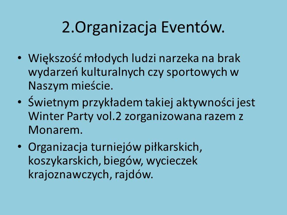 2.Organizacja Eventów. Większość młodych ludzi narzeka na brak wydarzeń kulturalnych czy sportowych w Naszym mieście. Świetnym przykładem takiej aktyw