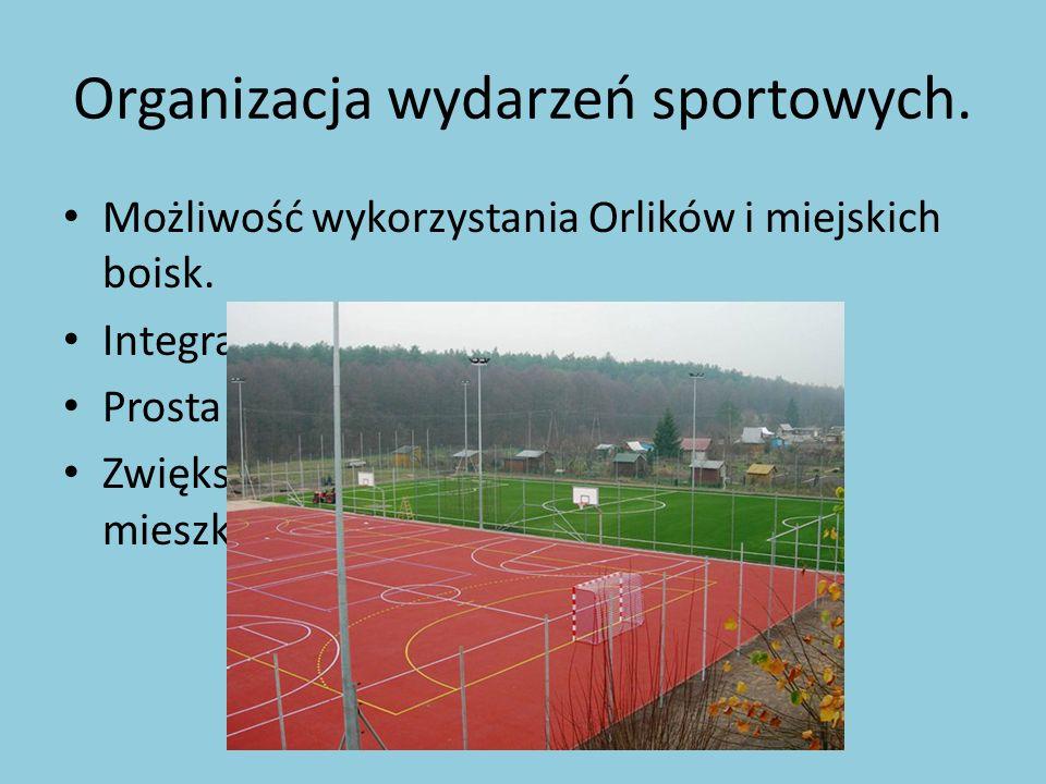Organizacja wydarzeń sportowych. Możliwość wykorzystania Orlików i miejskich boisk. Integracja młodzieży. Prosta organizacja. Zwiększanie popularności