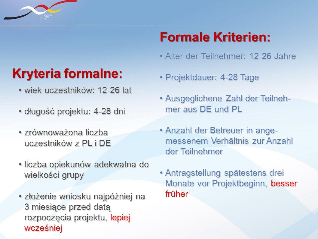 Alter der Teilnehmer: 12-26 JahreAlter der Teilnehmer: 12-26 Jahre Projektdauer: 4-28 TageProjektdauer: 4-28 Tage Ausgeglichene Zahl der Teilneh- mer