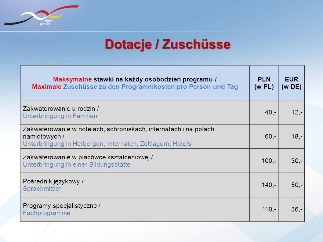 Dotacje / Zuschüsse Maksymalne stawki na każdy osobodzień programu / Maximale Zuschüsse zu den Programmkosten pro Person und Tag PLN (w PL) EUR (w DE)