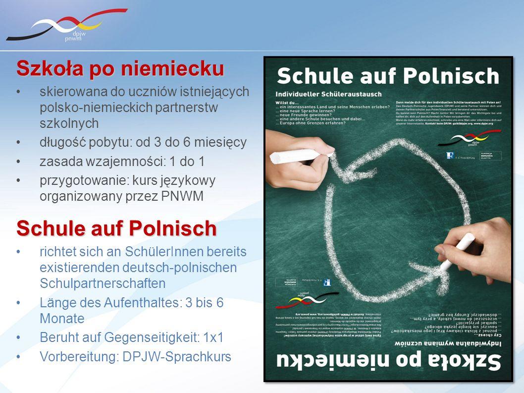 Szkoła po niemiecku skierowana do uczniów istniejących polsko-niemieckich partnerstw szkolnych długość pobytu: od 3 do 6 miesięcy zasada wzajemności: