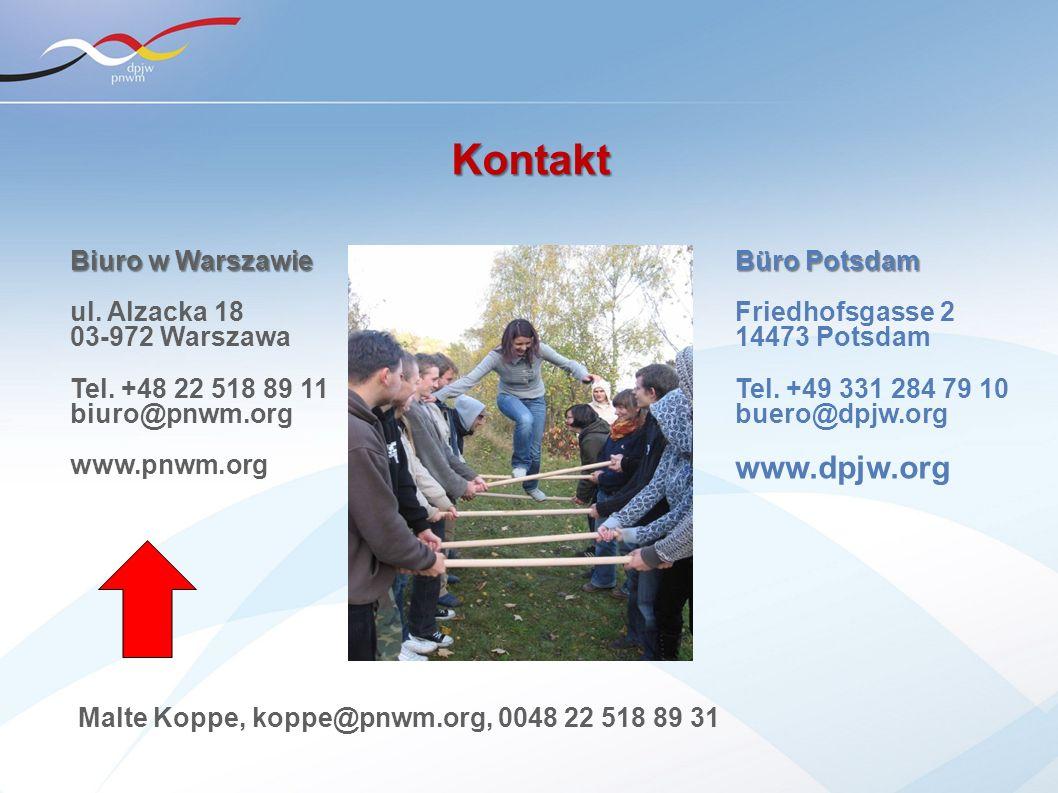 Büro Potsdam Friedhofsgasse 2 14473 Potsdam Tel. +49 331 284 79 10 buero@dpjw.org www.dpjw.org Biuro w Warszawie ul. Alzacka 18 03-972 Warszawa Tel. +