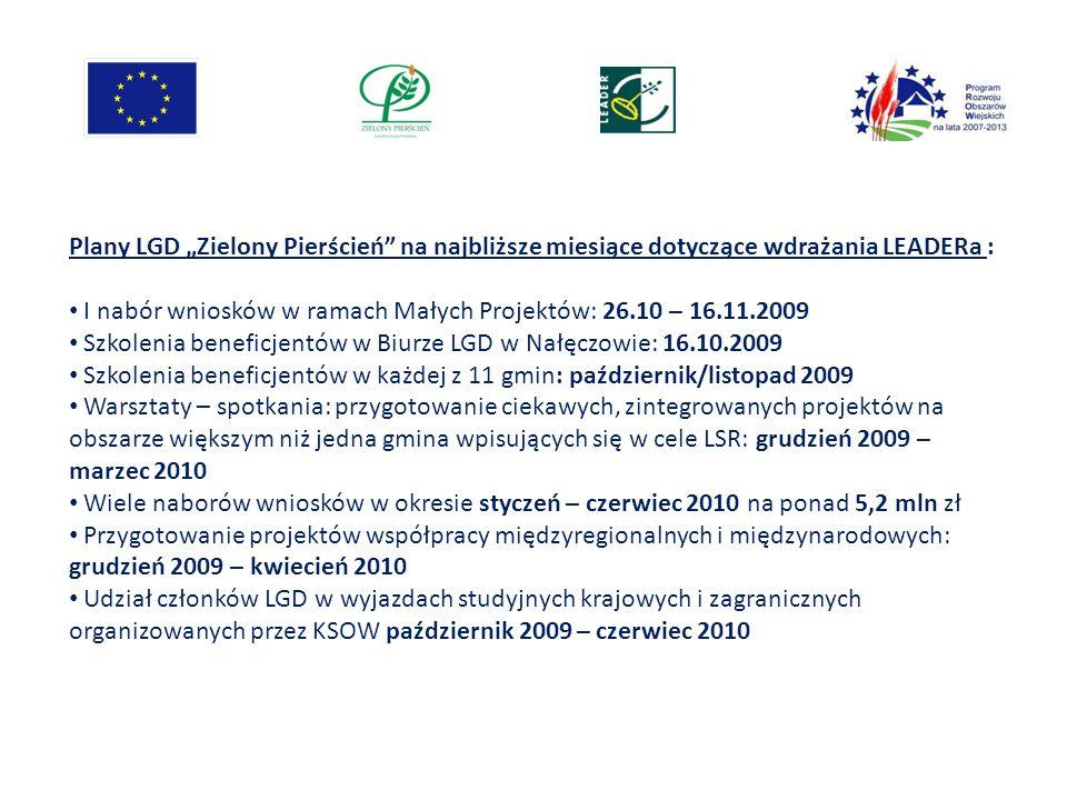 Plany LGD Zielony Pierścień na najbliższe miesiące dotyczące wdrażania LEADERa : I nabór wniosków w ramach Małych Projektów: 26.10 – 16.11.2009 Szkole