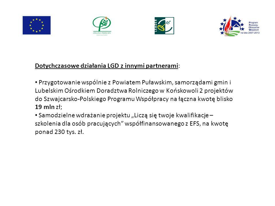 Dotychczasowe działania LGD z innymi partnerami: Przygotowanie wspólnie z Powiatem Puławskim, samorządami gmin i Lubelskim Ośrodkiem Doradztwa Rolnicz