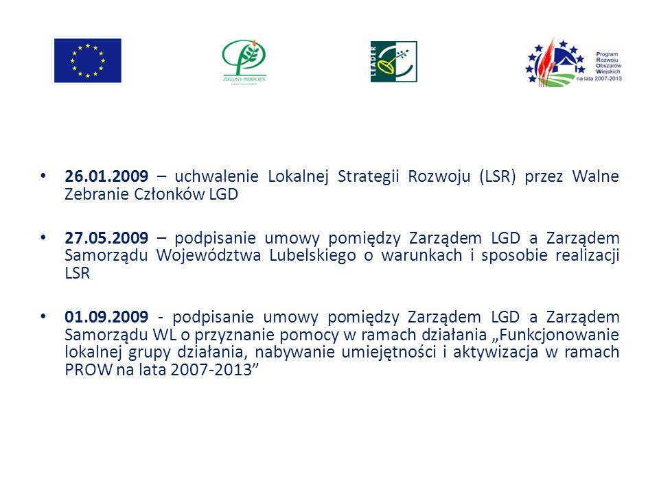 26.01.2009 – uchwalenie Lokalnej Strategii Rozwoju (LSR) przez Walne Zebranie Członków LGD 27.05.2009 – podpisanie umowy pomiędzy Zarządem LGD a Zarzą