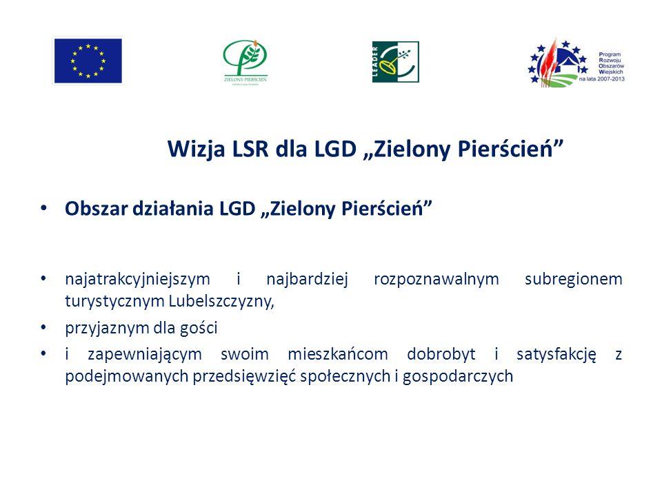 Wizja LSR dla LGD Zielony Pierścień Obszar działania LGD Zielony Pierścień najatrakcyjniejszym i najbardziej rozpoznawalnym subregionem turystycznym L