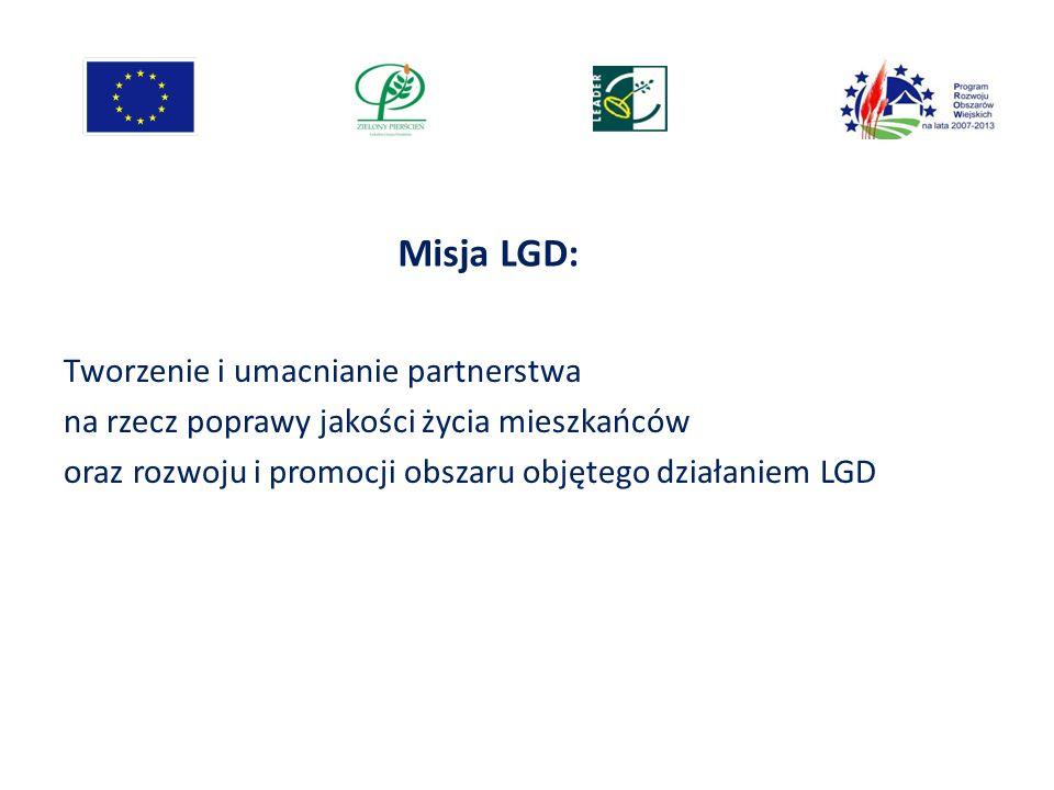 Misja LGD: Tworzenie i umacnianie partnerstwa na rzecz poprawy jakości życia mieszkańców oraz rozwoju i promocji obszaru objętego działaniem LGD