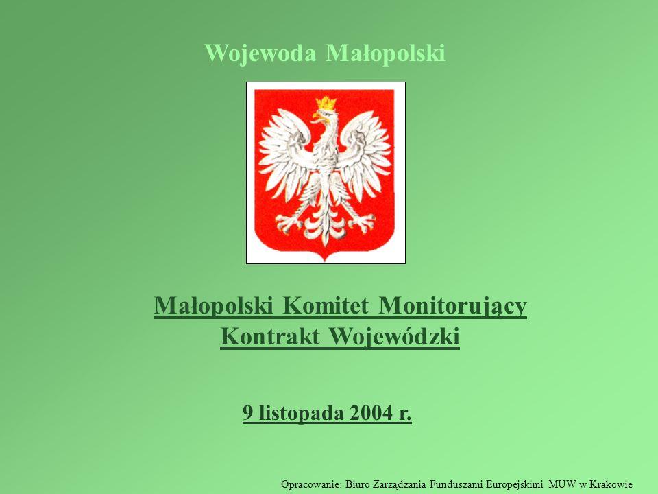 Małopolski Komitet Monitorujący Kontrakt Wojewódzki 9 listopada 2004 r. Wojewoda Małopolski Opracowanie: Biuro Zarządzania Funduszami Europejskimi MUW