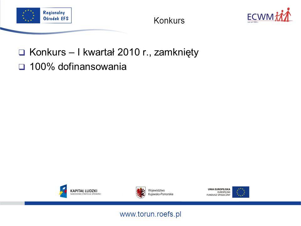 www.torun.roefs.pl Konkurs Konkurs – I kwartał 2010 r., zamknięty 100% dofinansowania