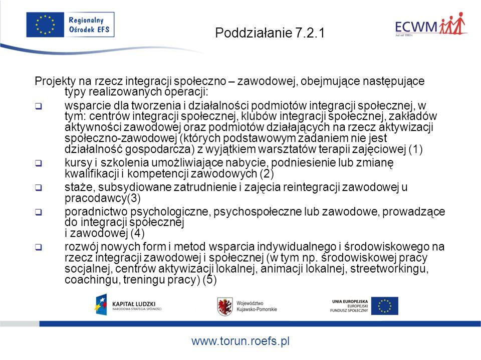 Poddziałanie 7.2.1 Projekty na rzecz integracji społeczno – zawodowej, obejmujące następujące typy realizowanych operacji: wsparcie dla tworzenia i działalności podmiotów integracji społecznej, w tym: centrów integracji społecznej, klubów integracji społecznej, zakładów aktywności zawodowej oraz podmiotów działających na rzecz aktywizacji społeczno-zawodowej (których podstawowym zadaniem nie jest działalność gospodarcza) z wyjątkiem warsztatów terapii zajęciowej (1) kursy i szkolenia umożliwiające nabycie, podniesienie lub zmianę kwalifikacji i kompetencji zawodowych (2) staże, subsydiowane zatrudnienie i zajęcia reintegracji zawodowej u pracodawcy(3) poradnictwo psychologiczne, psychospołeczne lub zawodowe, prowadzące do integracji społecznej i zawodowej (4) rozwój nowych form i metod wsparcia indywidualnego i środowiskowego na rzecz integracji zawodowej i społecznej (w tym np.