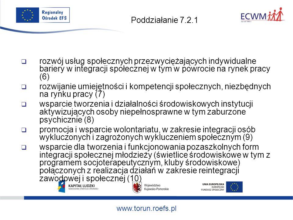 www.torun.roefs.pl Poddziałanie 7.2.1 rozwój usług społecznych przezwyciężających indywidualne bariery w integracji społecznej w tym w powrocie na rynek pracy (6) rozwijanie umiejętności i kompetencji społecznych, niezbędnych na rynku pracy (7) wsparcie tworzenia i działalności środowiskowych instytucji aktywizujących osoby niepełnosprawne w tym zaburzone psychicznie (8) promocja i wsparcie wolontariatu, w zakresie integracji osób wykluczonych i zagrożonych wykluczeniem społecznym (9) wsparcie dla tworzenia i funkcjonowania pozaszkolnych form integracji społecznej młodzieży (świetlice środowiskowe w tym z programem socjoterapeutycznym, kluby środowiskowe) połączonych z realizacja działań w zakresie reintegracji zawodowej i społecznej (10)