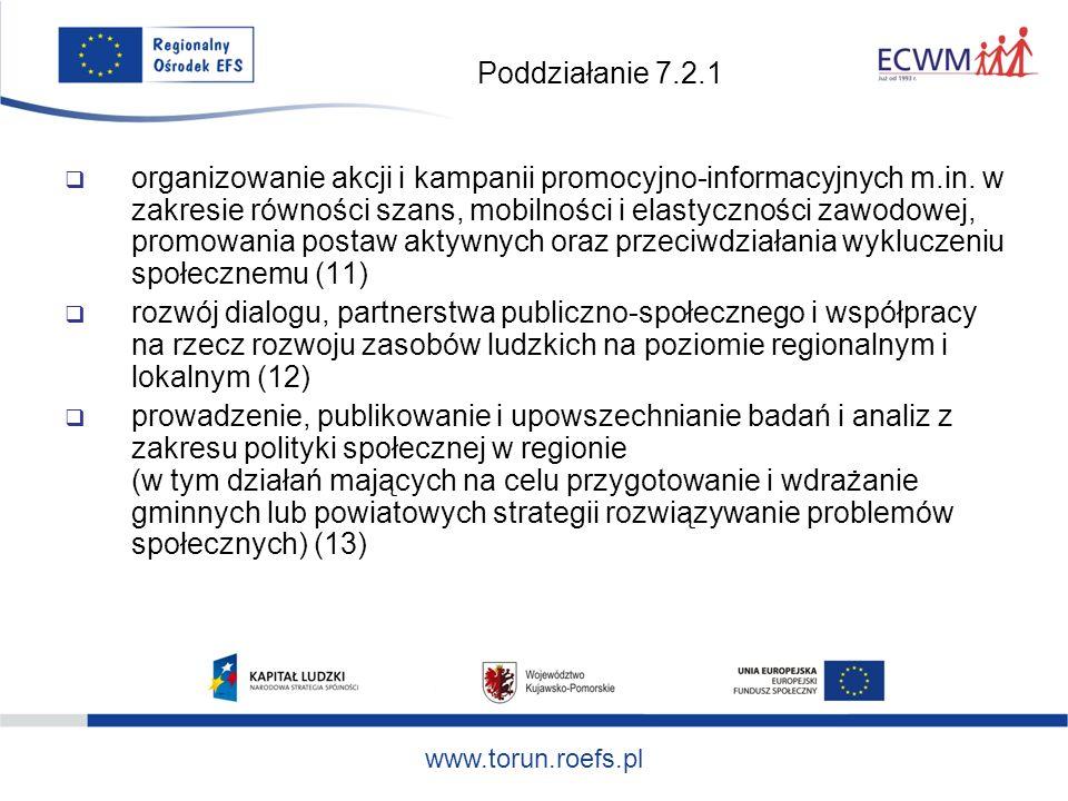 www.torun.roefs.pl Poddziałanie 7.2.1 organizowanie akcji i kampanii promocyjno-informacyjnych m.in.