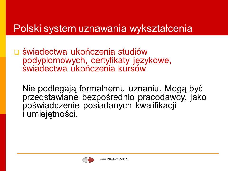 www.buwiwm.edu.pl Polski system uznawania wykształcenia świadectwa ukończenia studiów podyplomowych, certyfikaty językowe, świadectwa ukończenia kursó