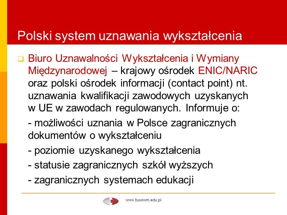 www.buwiwm.edu.pl Polski system uznawania wykształcenia Biuro Uznawalności Wykształcenia i Wymiany Międzynarodowej – krajowy ośrodek ENIC/NARIC oraz p