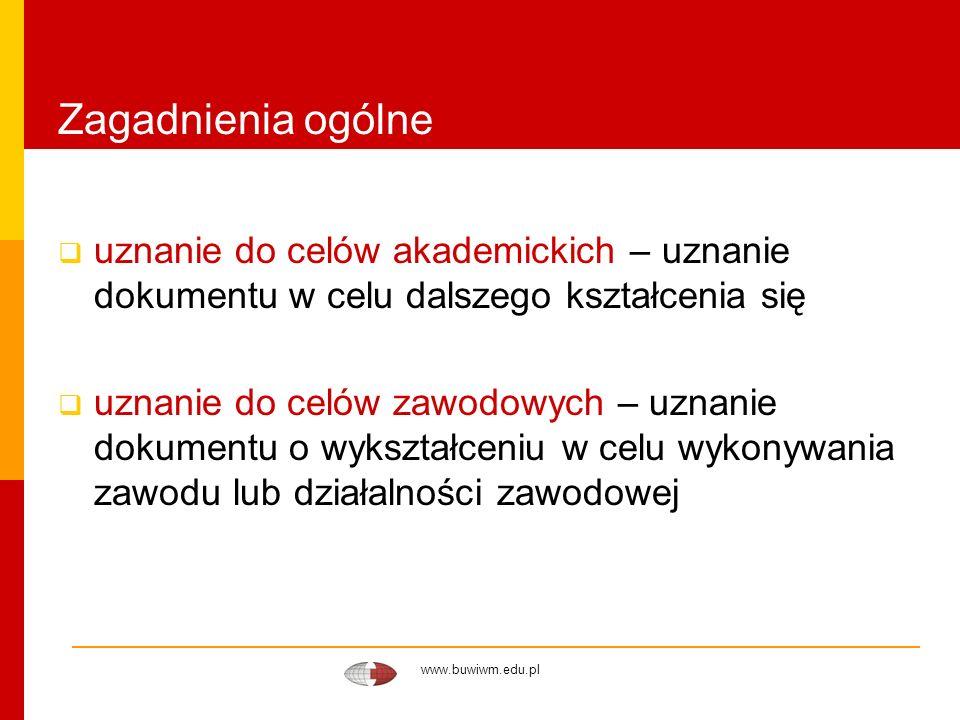 www.buwiwm.edu.pl Zagadnienia ogólne uznanie do celów akademickich – uznanie dokumentu w celu dalszego kształcenia się uznanie do celów zawodowych – u
