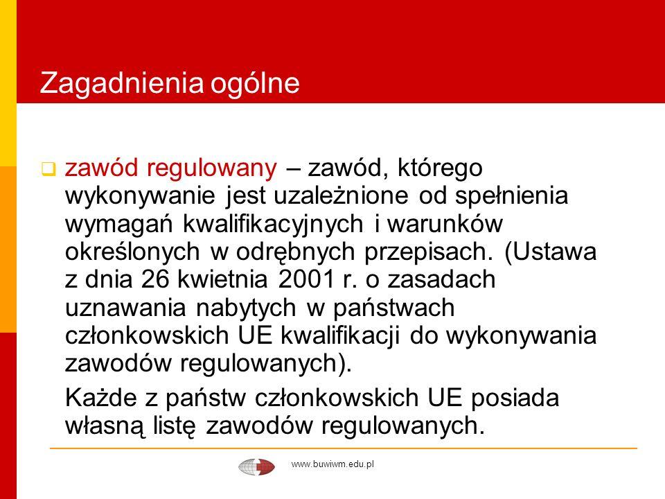 www.buwiwm.edu.pl Zagadnienia ogólne zawód regulowany – zawód, którego wykonywanie jest uzależnione od spełnienia wymagań kwalifikacyjnych i warunków