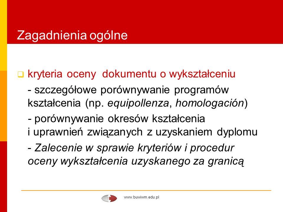 www.buwiwm.edu.pl Zagadnienia ogólne kryteria oceny dokumentu o wykształceniu - szczegółowe porównywanie programów kształcenia (np. equipollenza, homo