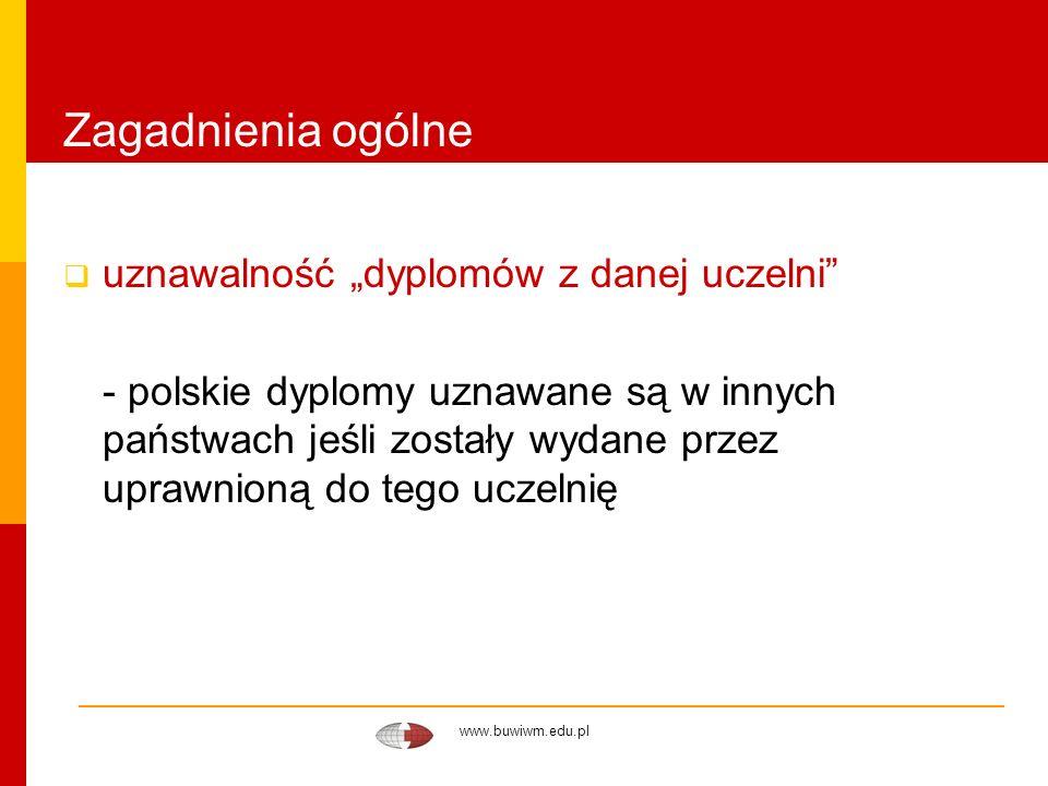 www.buwiwm.edu.pl Zagadnienia ogólne uznawalność dyplomów z danej uczelni - polskie dyplomy uznawane są w innych państwach jeśli zostały wydane przez