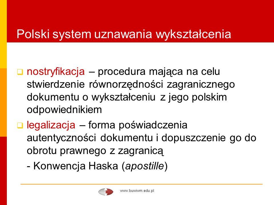 www.buwiwm.edu.pl Polski system uznawania wykształcenia tłumaczenia, kompetencje tłumaczy - tłumaczenie zawsze jest interpretacją zagranicznego dokumentu - przy ocenie zagranicznego dyplomu należy zapoznać się z jego oryginałem - tytuł/stopień pozostawiony w brzmieniu oryginalnym