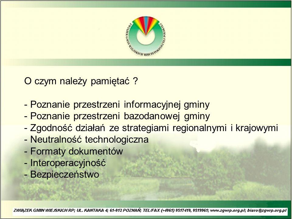 O czym należy pamiętać ? - Poznanie przestrzeni informacyjnej gminy - Poznanie przestrzeni bazodanowej gminy - Zgodność działań ze strategiami regiona