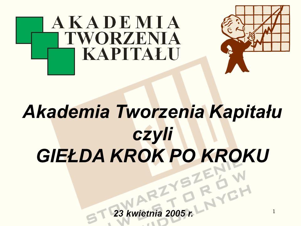 1 23 kwietnia 2005 r. Akademia Tworzenia Kapitału czyli GIEŁDA KROK PO KROKU