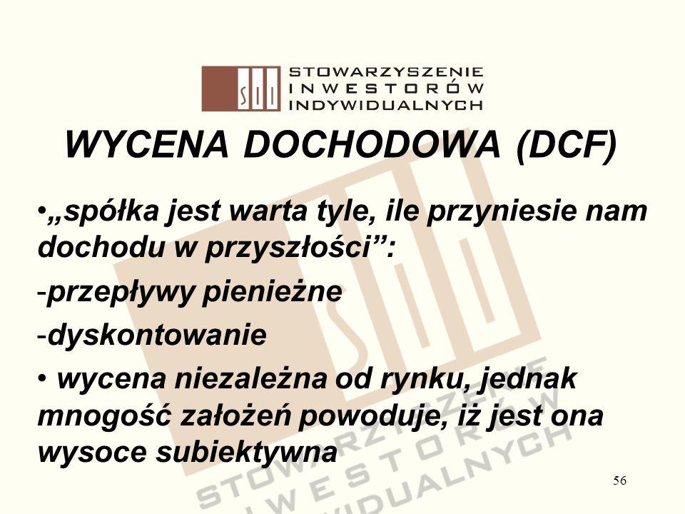 56 WYCENA DOCHODOWA (DCF) spółka jest warta tyle, ile przyniesie nam dochodu w przyszłości: -przepływy pienieżne -dyskontowanie wycena niezależna od r