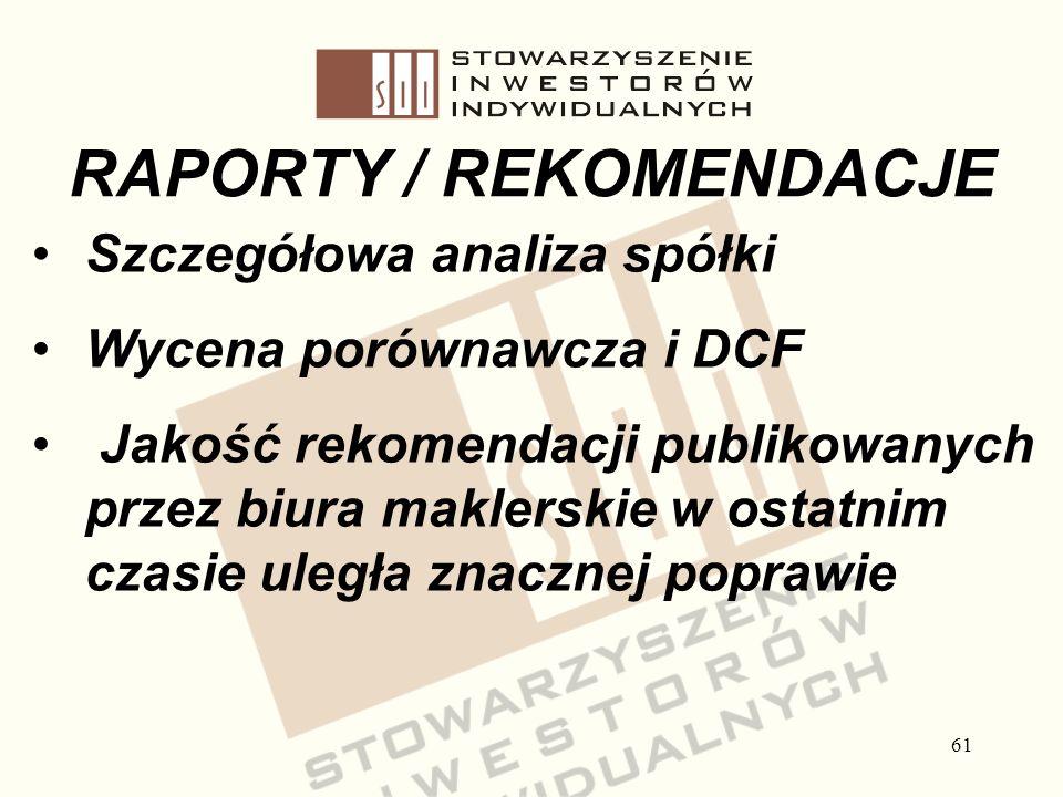 61 RAPORTY / REKOMENDACJE Szczegółowa analiza spółki Wycena porównawcza i DCF Jakość rekomendacji publikowanych przez biura maklerskie w ostatnim czas