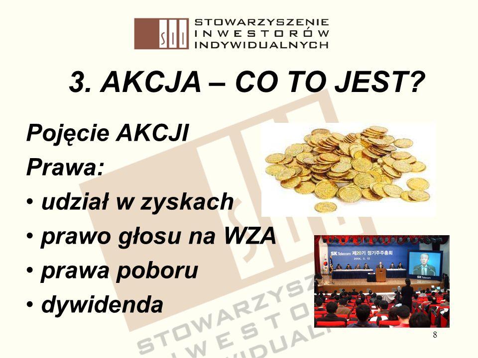 8 3. AKCJA – CO TO JEST? Pojęcie AKCJI Prawa: udział w zyskach prawo głosu na WZA prawa poboru dywidenda