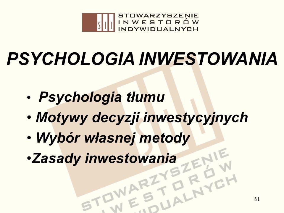 81 Psychologia tłumu Motywy decyzji inwestycyjnych Wybór własnej metody Zasady inwestowania PSYCHOLOGIA INWESTOWANIA