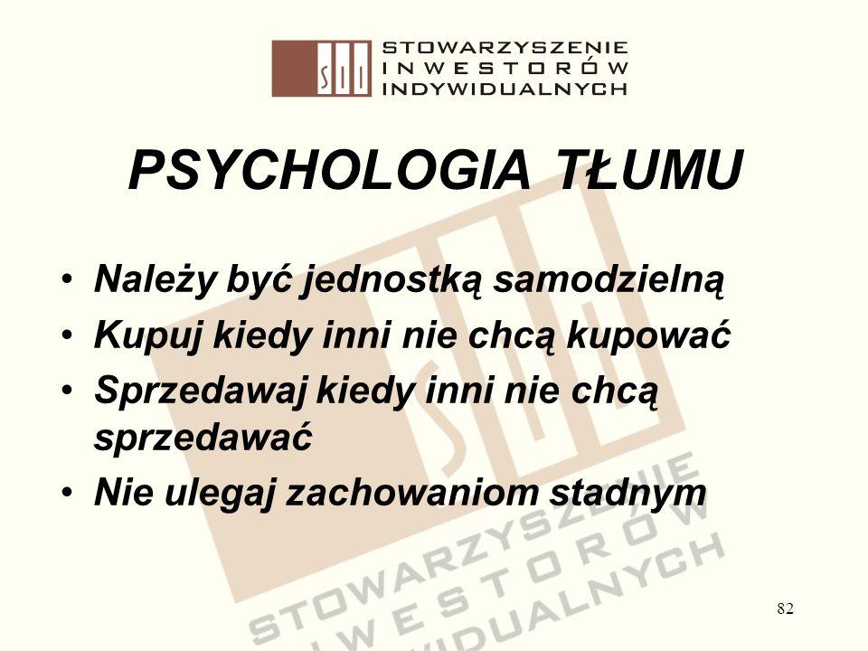 82 PSYCHOLOGIA TŁUMU Należy być jednostką samodzielną Kupuj kiedy inni nie chcą kupować Sprzedawaj kiedy inni nie chcą sprzedawać Nie ulegaj zachowani