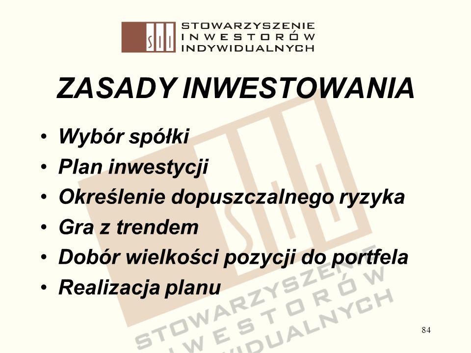 84 ZASADY INWESTOWANIA Wybór spółki Plan inwestycji Określenie dopuszczalnego ryzyka Gra z trendem Dobór wielkości pozycji do portfela Realizacja plan