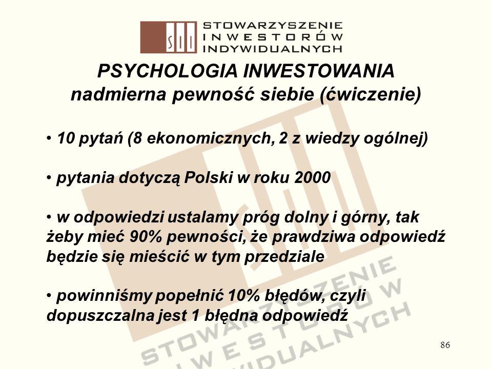 86 PSYCHOLOGIA INWESTOWANIA nadmierna pewność siebie (ćwiczenie) 10 pytań (8 ekonomicznych, 2 z wiedzy ogólnej) pytania dotyczą Polski w roku 2000 w o